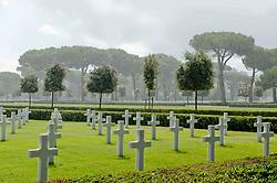 Rain shower over the Sicily–Rome American Cemetery and Memorial, a Second World War American military war grave cemetery, located in Nettuno, near Anzio, Lazio, Italy.