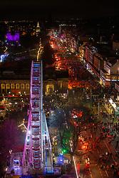 Princes Street before midnight from the Scott Monument. Edinburgh's Hogmanay 2019
