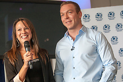 Six-time Olympic gold medallist Sir Chris Hoy and his wife Sarra, as he announces his retirement at a press conference at Murrayfield stadium.© Michael Schofield.