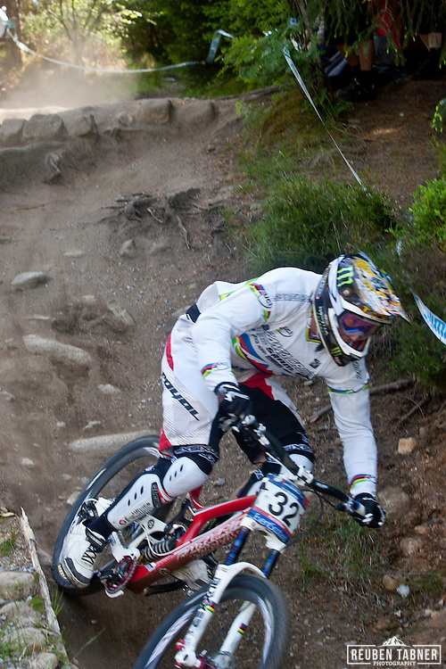 Steve Peat (GBR) of Santa Cruz Syndicate during downhill qualifying at the UCI Mountain Bike World Cup in Fort William, Scotland.