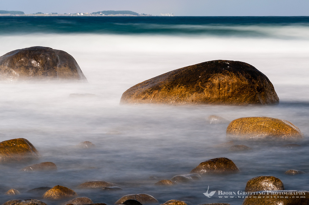Norway, Sele. Rocky coastline, long exposure.