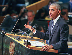 September 20, 2016 - New York, New York, U.S - President BARACK OBAMA addresses the United Nations General Assembly this morning, his final speech before the international governing body. Obama spoke of the Paris Climate accord and the Iran nuclear deal. (Credit Image: © Nancy Siesel via ZUMA Wire)