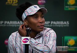 March 9, 2019 - Indian Wells, USA - Venus Williams of the United States talks to the media after her second-round match at the 2019 BNP Paribas Open WTA Premier Mandatory tennis tournament (Credit Image: © AFP7 via ZUMA Wire)
