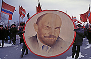 Ulyanovsk, Urals Region, central  Russia, 7/11/1994...A Revolution Day parade by local communists. The birthplace of Vladiimr Lenin, founder of the Soviet Union, remains true to his Communist ideals. There is little private ownership, and all city industry and local agriculture is controlled by the state.