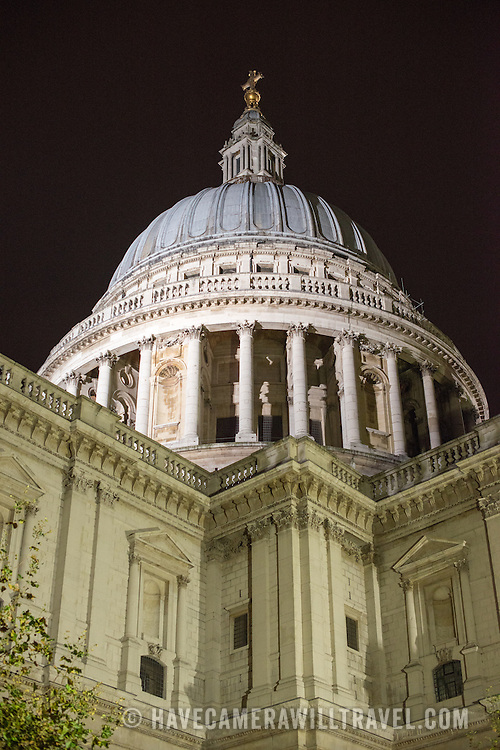 The iconic dome of St Paul's Cathedral in London, England.