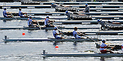 Hamilton, NEW ZEALAND.  GV's, General view of the starting pontoon, with a repechage of the lightweight men's pair, in progress. Tuesday - 02.11.2010, [Mandatory Credit Peter Spurrier:Intersport Images].