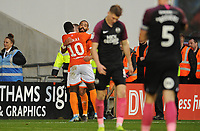 Blackpool's Liam Feeney celebrates his side's fourth goal, an own goal by Peterborough United's Dan Butler (not in picture) with team-mate Sullay Kaikai<br /> <br /> Photographer Kevin Barnes/CameraSport<br /> <br /> The EFL Sky Bet Championship - Blackpool v Peterborough United - Saturday 2nd November 2019 - Bloomfield Road - Blackpool<br /> <br /> World Copyright © 2019 CameraSport. All rights reserved. 43 Linden Ave. Countesthorpe. Leicester. England. LE8 5PG - Tel: +44 (0) 116 277 4147 - admin@camerasport.com - www.camerasport.com