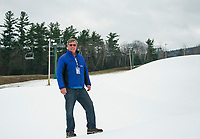 General Manager Greg Goddard stands on the snow covered Smith Trail as Gunstock Mountain prepares for opening day on Friday, November 29th.  (Karen Bobotas/for the Laconia Daily Sun)