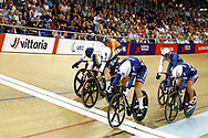 Women Keirin, Mathilde Gros (France), Nicky Degrendele (Belgium), Daria Shmeleva (Russian Federation), during the Track Cycling European Championships Glasgow 2018, at Sir Chris Hoy Velodrome, in Glasgow, Great Britain, Day 6, on August 7, 2018 - Photo luca Bettini / BettiniPhoto / ProSportsImages / DPPI<br /> - Restriction / Netherlands out, Belgium out, Spain out, Italy out -