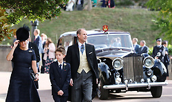 Sophie, Countess of Wessex, James, the Viscount Severn and the Earl of Wessex arrive ahead of the wedding of Princess Eugenie to Jack Brooksbank at St George's Chapel in Windsor Castle