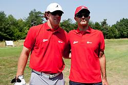 Anze Kopitar and Matjaz Rakovec at Anze's Eleven and Triglav Charity Golf Tournament, on June 30, 2012 in Golf court Bled, Slovenia. (Photo by Matic Klansek Velej / Sportida)