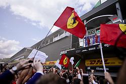 September 1, 2019, Francorchamps, Belgium: LEWIS HAMILTON of Mercedes AMG Petronas Motorsport, CHARLES LECLERC of Scuderia Ferrari and VALTTERI BOTTAS of Mercedes AMG Petronas Motorsport on the podium after the Formula 1 Belgian Grand Prix at Circuit de Spa-Francorchamps in Francorchamps, Belgium. (Credit Image: © James Gasperotti/ZUMA Wire)