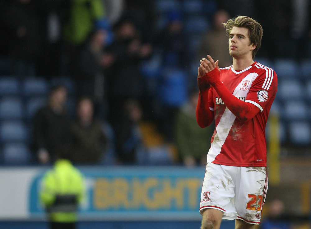 Middlesbrough's Patrick Bamford applauds the fans at the final whistle<br /> <br /> Photographer Jack Phillips/CameraSport<br /> <br /> Football - The Football League Sky Bet Championship - Sheffield Wednesday v Middlesbrough - Saturday 28th February 2015 - Hillsborough - Sheffield<br /> <br /> © CameraSport - 43 Linden Ave. Countesthorpe. Leicester. England. LE8 5PG - Tel: +44 (0) 116 277 4147 - admin@camerasport.com - www.camerasport.com