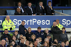 Everton's Wayne Rooney (centre) in the stands during the Carabao Cup, Third Round match at Goodison Park, Liverpool.