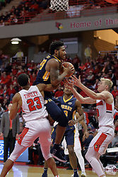 09 December 2017:  Jalen Dupree grabs a rebound also wanted by William Tinsley and TIsaac Gassman during a College mens basketball game between the Murray State Racers and Illinois State Redbirds in  Redbird Arena, Normal IL