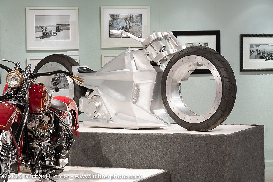 Tim McNamer's Legacy Series custom electric motorcycle on display in the Heavy Mettle - Motorcycles and Art with Moxie exhibition at the Sturgis Buffalo Chip. This is the 2020 iteration of the annual Motorcycles as Art series curated and produced by Michael Lichter. Sturgis, SD, USA. Friday, August 7, 2020. Photography ©2020 Michael Lichter.