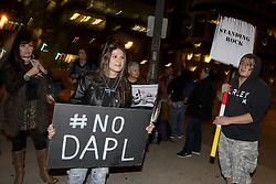 December 3, 2016 - Los Angeles, California, United States - Activists demonstrate against the Dakota Access Pipeline. Los Angeles, California December 3, 2016. Protesters gathered in solidarity with the Sioux tribe in their efforts to stop the construction of the oil pipeline. (Credit Image: © Ronen Tivony/NurPhoto via ZUMA Press)