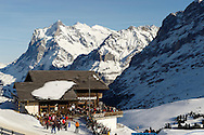 Ski restaurant at Kleiner Scheidegg looking towards the Wetterhorn mountain - Swiss Alps - Switzerland .<br /> <br /> Visit our SWITZERLAND  & ALPS PHOTO COLLECTIONS for more  photos  to browse of  download or buy as prints https://funkystock.photoshelter.com/gallery-collection/Pictures-Images-of-Switzerland-Photos-of-Swiss-Alps-Landmark-Sites/C0000DPgRJMSrQ3U