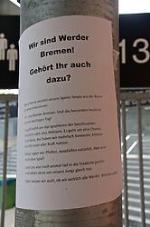 27.10.2014, Trainingscenter, Bremen, GER, 1. FBL, SV Werder Bremen, Training, im Bild ein Zettel vor dem Spielereingang, der die Choreographie vom jüngsten Spiel gegen den 1. FC Köln erklärt // during a Trainingssession of German Bundesliga Club SV Werder Bremen at the Trainingscenter in Bremen, Germany on 2014/10/27. EXPA Pictures © 2014, PhotoCredit: EXPA/ Andreas Gumz<br /> <br /> *****ATTENTION - OUT of GER*****