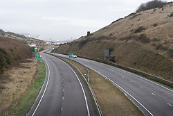 © Licensed to London News Pictures. 22/12/2020. Dover, UK. The A20 main road leading into Dover is empty as the Port of Dover is closed as the French government have prohibited travel due to a new UK outbreak of the Covid-19 disease in Dover. Photo credit: London News Pictures