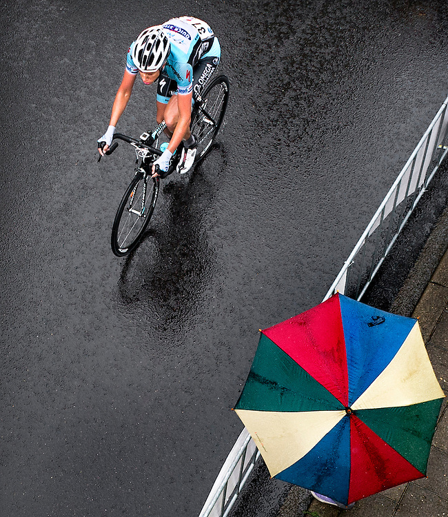 The Netherlands, Kerkrade, 24-06-2012.<br /> Cycling, National dutch championships, Men, Elite.<br /> Niki Terpstra, the only one in this race of the Omega Pharma-Quickstep team, on his way in rainy weather to be national dutch champion for the second time in his career.<br /> Photo : Klaas Jan van der Weij