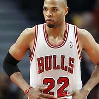26 March 2012: Chicago Bulls forward Taj Gibson (22) rests during the Denver Nuggets 108-91 victory over the Chicago Bulls at the United Center, Chicago, Illinois, USA. NOTE TO USER: User expressly acknowledges and agrees that, by downloading and or using this photograph, User is consenting to the terms and conditions of the Getty Images License Agreement. Mandatory Credit: 2012 NBAE (Photo by Chris Elise/NBAE via Getty Images)