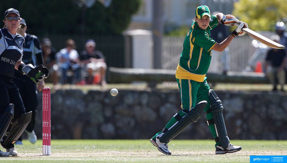 Marizanne Kapp batting during the South Africa  V New Zealand group A match at Bradman Oval in the ICC Women's World Cup Cricket Tournament, in Bowral, Australia on March 12, 2009. New Zealand won the match by 199 runs. Photo Tim Clayton