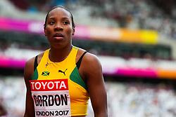 London, 2017 August 06. Chrisann Gordon, Jamaica, at the start of  heat six of the Women's 400m on day three of the IAAF London 2017 world Championships at the London Stadium. © Paul Davey.