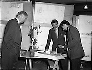 05/05/1958<br /> 05/05/1958<br /> 05 May 1958<br /> College of Technology exhibition at Bolton Street, Dublin. Architectural Students show off their model and drawings.
