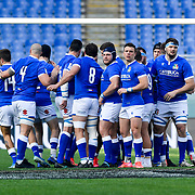 Roma 27/02/2021, Stadio Olimpico<br /> Guinness Six Nations 2021<br /> Italia vs Irlanda <br /> <br /> gli azzurri in cerchio