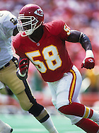 KANSAS CITY, MO-UNDATED:  NFL Hall of Fame linebacker Derrick Thomas of the Kansas City Chiefs rushes the passer during a game at Arrowhead Stadium in Kansas City, Missouri.  Thomas played for the Chiefs from 1989-1999.  (Photo by Ron Vesely)...