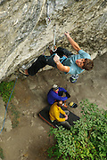 Classic Raven Tor - Matt Pickles on Mecca, 8b+,  whilst Keith Sharples and Neil Pearsons shoot the breeze below
