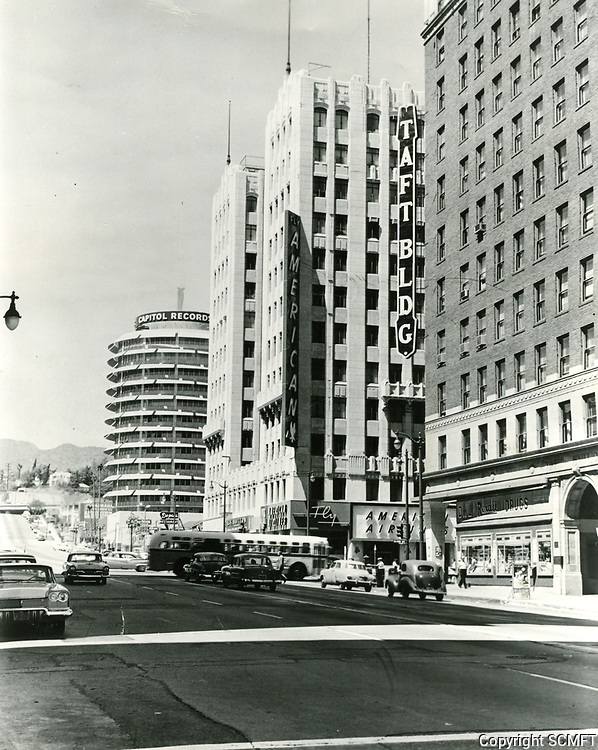 1961 Looking north on Vine St. towards Hollywood Blvd.