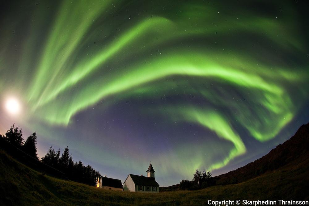 Aurora Borealis at Þingvellir National Park, south-west Iceland
