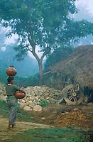Nepal, region du Terai, corvée d'eau pour cette femme Tharu. // Nepal, Terai area, Tharu woman bring water.