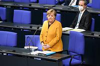 24 MAR 2021, BERLIN/GERMANY:<br /> Angela Merkel, CDU, Bundeskanzlerin, waehrend der Regierungsbefragung durch den Bundestag zur Bekaempfung der Corvid-19 Pandemie, Plenarsaal, Reichstagsgebaeude, Deutscher Bundestag<br /> IMAGE: 20210324-01-018<br /> KEYWORDS: Corona