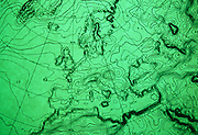 "A detail of a computerized weather chart showing atmospheric pressure isobars across western Europe on 16/9/91 at the European Centre for Medium-Range Weather Forecasts (ECMWF), Reading, UK. ECMWF  is an international organisation supported by 31 States, based in England, Belgium, Denmark, Germany, Greece, Spain, France, Ireland, Italy, Luxembourg, the Netherlands, Norway, Austria, Portugal, Switzerland, Finland, Sweden, Turkey, United Kingdom. Its role is ""to provide monthly and seasonal-to-interannual forecasts; to deliver real-time analyses and forecasts of atmospheric composition; to carry out climate monitoring through regular re-analyses of the Earth-system and to contribute towards the optimization of the Global Observing System."" Source: http://www.ecmwf.int/."