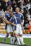 Coca Cola championship, Wolverhampton Wanderers v Cardiff City on Sunday 22nd Feb 2009 . pic by Andrew Orchard, Andrew Orchard sports photography,  Roger Johnson of Cardiff city celebrates his goal with Chopra and Gyepes