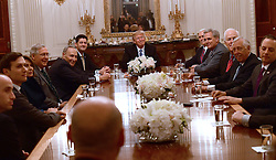 United States President Donald Trump hosts a reception for US House and US Senate Republican and Democratic leaders in the State Dining Room of the White House in Washington, DC, USA, on Monday, January 23, 2017. Photo by Ron Sachs/CNP/ABACAPRESS.COM