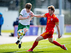 WREXHAM, WALES - Friday, March 26, 2021: Republic of Ireland's Luca Connell (L) and Wales' Edward Jones during an Under-21 international friendly match between Wales and Republic of Ireland at Colliers Park. Republic of Ireland won 2-1. (Pic by David Rawcliffe/Propaganda)
