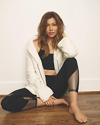 """Jessica Biel releases a photo on Instagram with the following caption: """"It\u2019s time to go grab some cozy @gaiam pieces because\u2026 Baby it\u2019s @kohls outside! (I\u2019ll show myself out.) Link in my bio \u261d\ud83c\udffc#ad"""". Photo Credit: Instagram *** No USA Distribution *** For Editorial Use Only *** Not to be Published in Books or Photo Books ***  Please note: Fees charged by the agency are for the agency's services only, and do not, nor are they intended to, convey to the user any ownership of Copyright or License in the material. The agency does not claim any ownership including but not limited to Copyright or License in the attached material. By publishing this material you expressly agree to indemnify and to hold the agency and its directors, shareholders and employees harmless from any loss, claims, damages, demands, expenses (including legal fees), or any causes of action or allegation against the agency arising out of or connected in any way with publication of the material."""