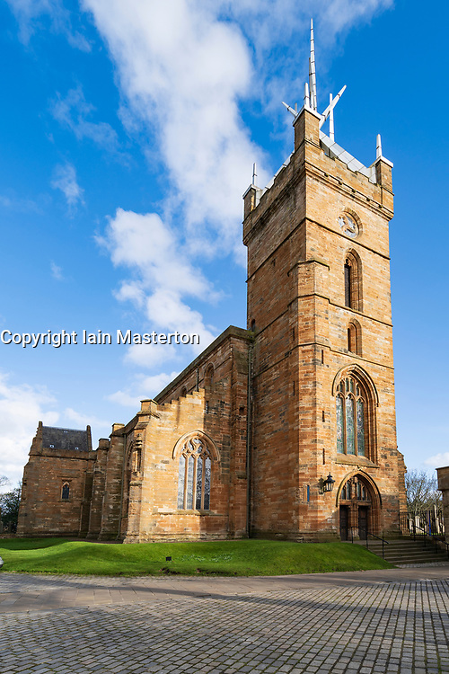 View of Saint Michael's Parish Church adjacent to Linlithgow Palace in Linlithgow, West Lothian, Scotland, UK. Birthplace of Mary Queen of Scots.
