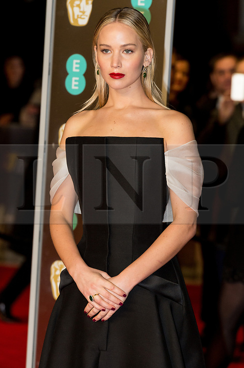 © Licensed to London News Pictures. 18/02/2018. JENNIFER LAWERENCE arrives on the red carpet for the EE British Academy Film Awards 2018, held at the Royal Albert Hall, London, UK. Photo credit: Ray Tang/LNP