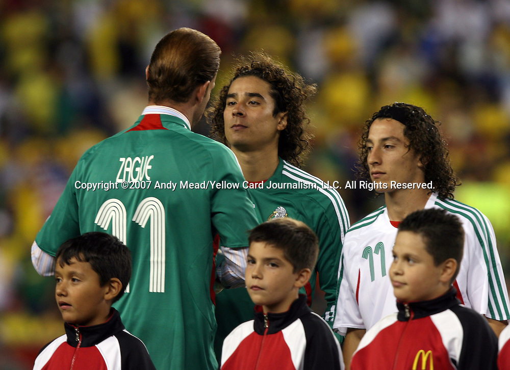 12 September 2007: Mexico legend Zague (11) with Guillermo Ochoa (center) and Andres Guardado (r). The Brazil Men's National Team defeated the Mexico Men's National Team 3-1 at Gillette Stadium in Foxborough, Massachusetts in an international friendly.