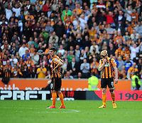 Hull City's Robbie Brady, left, and Hull City's Paul McShane at the end of the game as his sides relegation from the Barclays Premiership is confirmed<br /> <br /> Photographer Chris Vaughan/CameraSport<br /> <br /> Football - Barclays Premiership - Hull City v Manchester United - Sunday 24th May 2015 - Kingston Communications Stadium - Hull<br /> <br /> © CameraSport - 43 Linden Ave. Countesthorpe. Leicester. England. LE8 5PG - Tel: +44 (0) 116 277 4147 - admin@camerasport.com - www.camerasport.com