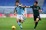 Takehiro Tomiyasu of Bologna (R) and Joaquin Correa of Lazio (L) in action  reacts during the Italian championship Serie A football match between SS Lazio and Bologna FC at Stadio Olimpico, Saturday, Feb. 29, 2020, in Rome, Italy.(Federico Proietti-ESPA-Images/Image of Sport)