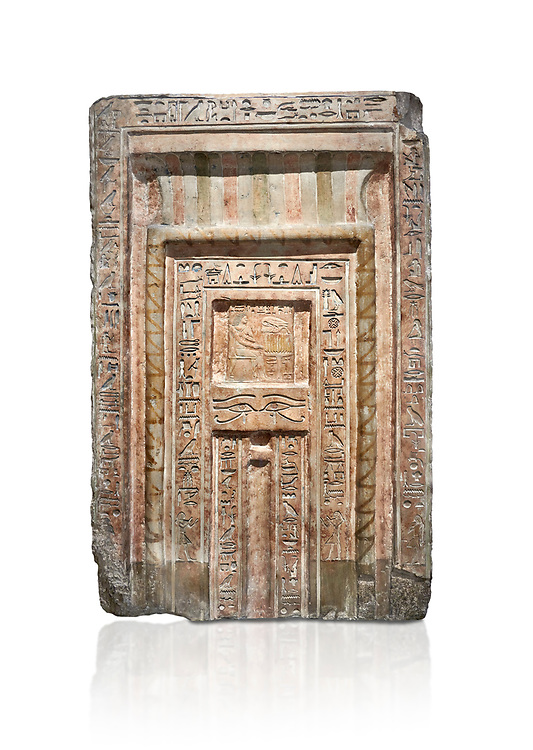 Ancient Egyptian False Door stele of Chamberlain Hornakht, son of Mera, slimestone, Middle Kingdom, 12th Dynasty (1939-1759 BC),  Egyptian Museum, Turin. Old fund cat 1612. white background<br /> <br /> A false door is an artistic representation of a door which does not function like a real door. They can be carved in a wall or painted on it. They are a common architectural element in the tombs of ancient Egypt, .<br /> <br /> If you prefer to buy from our ALAMY PHOTO LIBRARY  Collection visit : https://www.alamy.com/portfolio/paul-williams-funkystock/ancient-egyptian-art-artefacts.html  . Type -   Turin   - into the LOWER SEARCH WITHIN GALLERY box. Refine search by adding background colour, subject etc<br /> <br /> Visit our ANCIENT WORLD PHOTO COLLECTIONS for more photos to download or buy as wall art prints https://funkystock.photoshelter.com/gallery-collection/Ancient-World-Art-Antiquities-Historic-Sites-Pictures-Images-of/C00006u26yqSkDOM