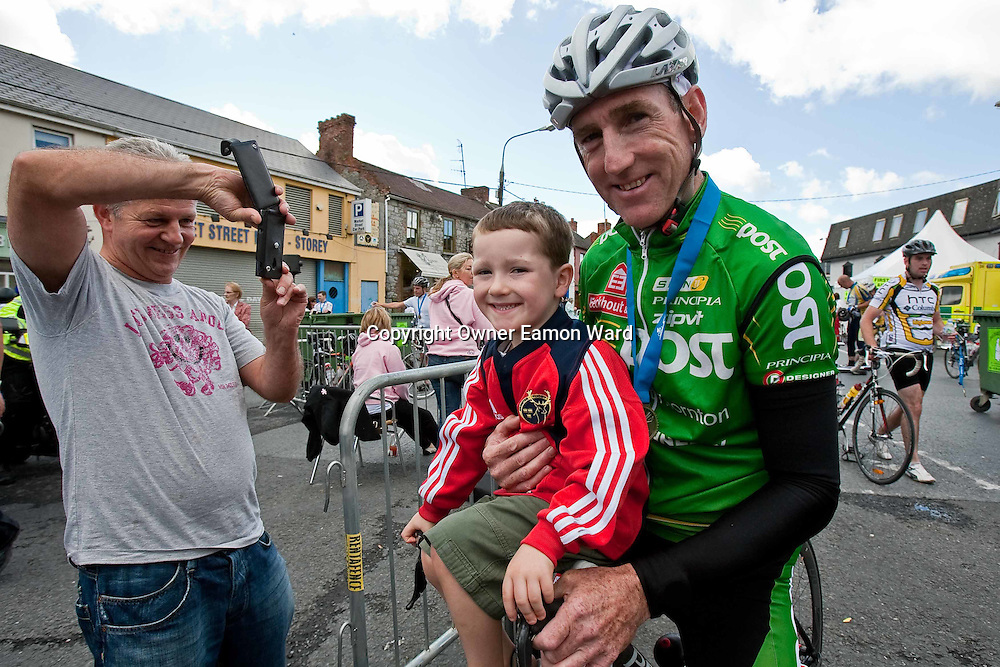 |Sean Kelly with young Bobby Power at the Etap Hibernia Sky Ride in Ennis on Sunday. Photograph by Eamon Ward