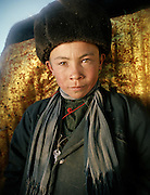 Portrait of Mujaheed, one of the Khan's younger son, who will get married in summer 2008. He is 15 years old. Qyzyl Qorum campment, Abdul Rashid Khan's camp (leader of the Afghan Kyrgyz). .Winter expedition through the Wakhan Corridor and into the Afghan Pamir mountains, to document the life of the Afghan Kyrgyz tribe. January/February 2008. Afghanistan