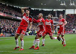Middlesbrough's Rudy Gestede celebrates the opener during the FA Cup, third round match at the Riverside Stadium, Middlesbrough.